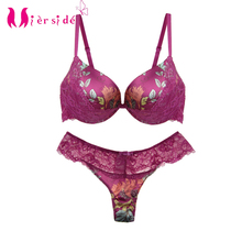 Mierside JW34PU Sexy Fashion Bra Set Padded Push up Bra Bralette Floral with Sexy panty 34/36/38/40 B/C