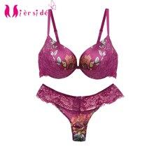 Mierside JW34PU Sexy mode ensemble de soutien gorge rembourré soutien gorge Bralette florale avec culotte Sexy 34/36/38/40 B/C