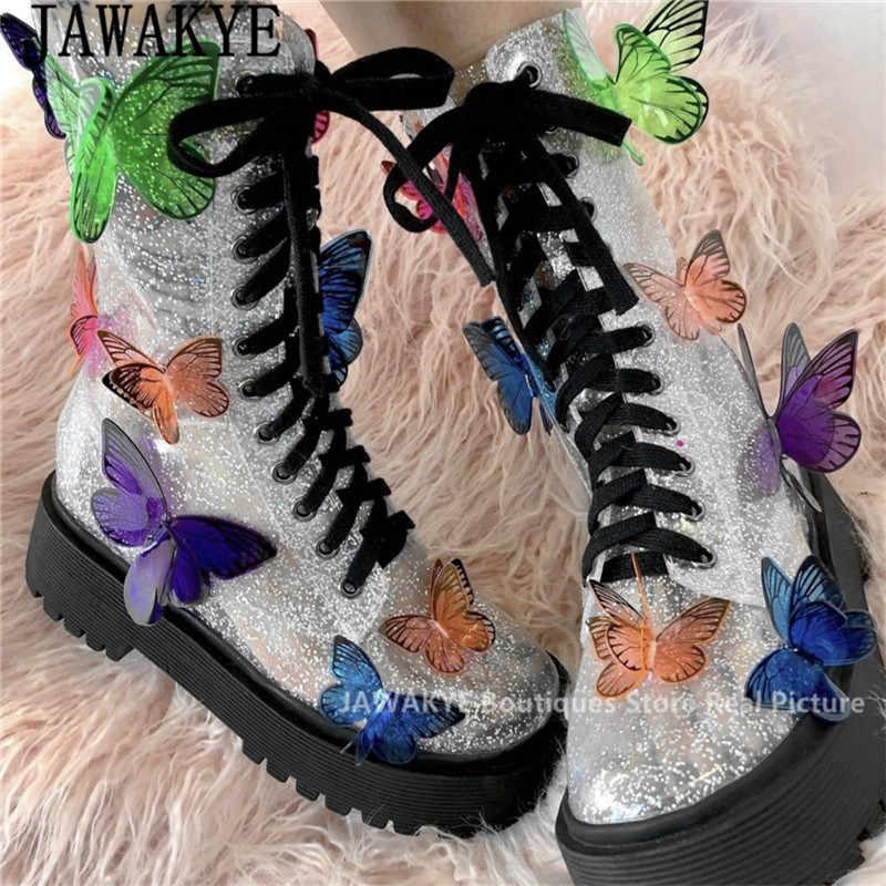 Kelebek aplikler çapraz bağlı botlar kadın şeffaf şeffaf PVC kalın alt platformu renk karışımı kanatlı ayakkabılar kısa çizmeler