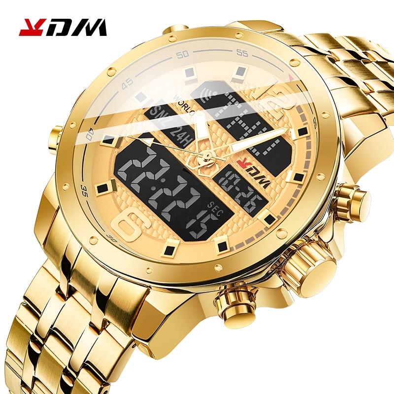 KDM Mens Watch Quartz Digital Casual Business Wristwatch LCD Luxury Gold Stainless Steel Waterproof Sport Clock Reloj Masculino