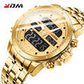 KDM hommes montre Quartz numérique décontracté affaires montre-bracelet LCD luxe or acier inoxydable étanche Sport horloge Reloj Masculino
