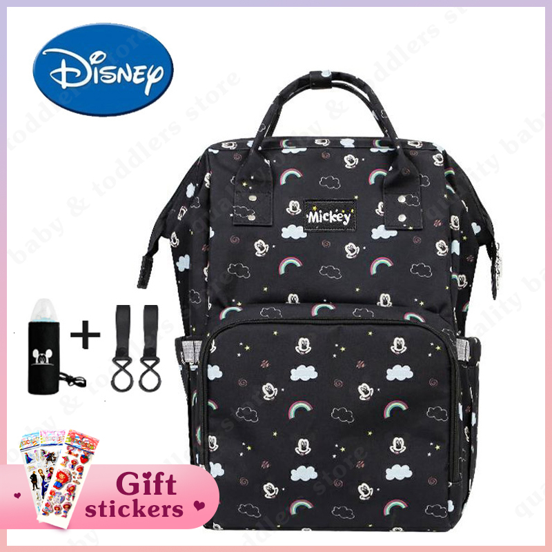 Disney Maternity Mommy Diaper Bag USB Heating Backpack Fashionable Mom's Nappy Backpack Cartoon Toddler Nursing Travel Bag