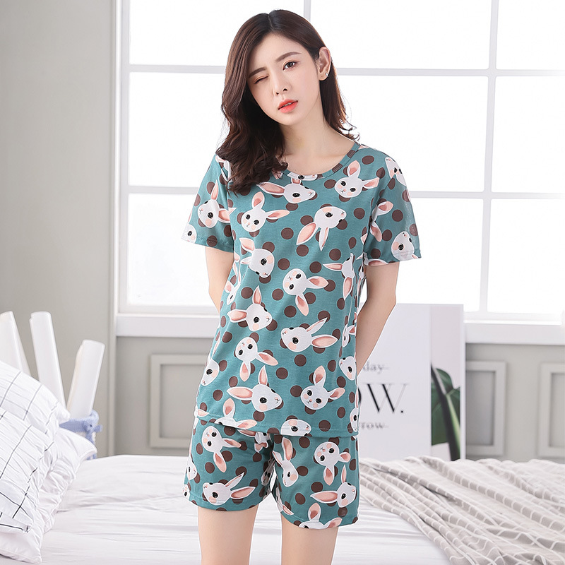 Cartoon Cute Green Rabbit Pajamas WOMEN'S Short Sleeved Shorts Summer Women's Home Wear Qmilch Thin Plus-sized Set