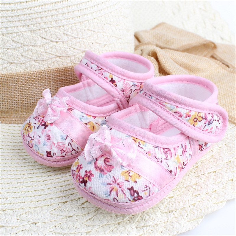 Fashion Baby Girls First Walkers Shoes Soft Crib Shoes Floral Bow Knot Cotton Shoes