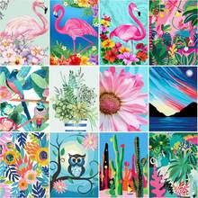 RUOPOTY – peinture par numéros pour adultes avec cadre de fleurs, image moderne, coloriage par numéros, bricolage, cadeau, Art mural, décor de maison
