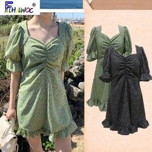 Женское винтажное платье Flhjlwoc, винтажное платье с оборками, зеленое платье с цветочным принтом, 2019