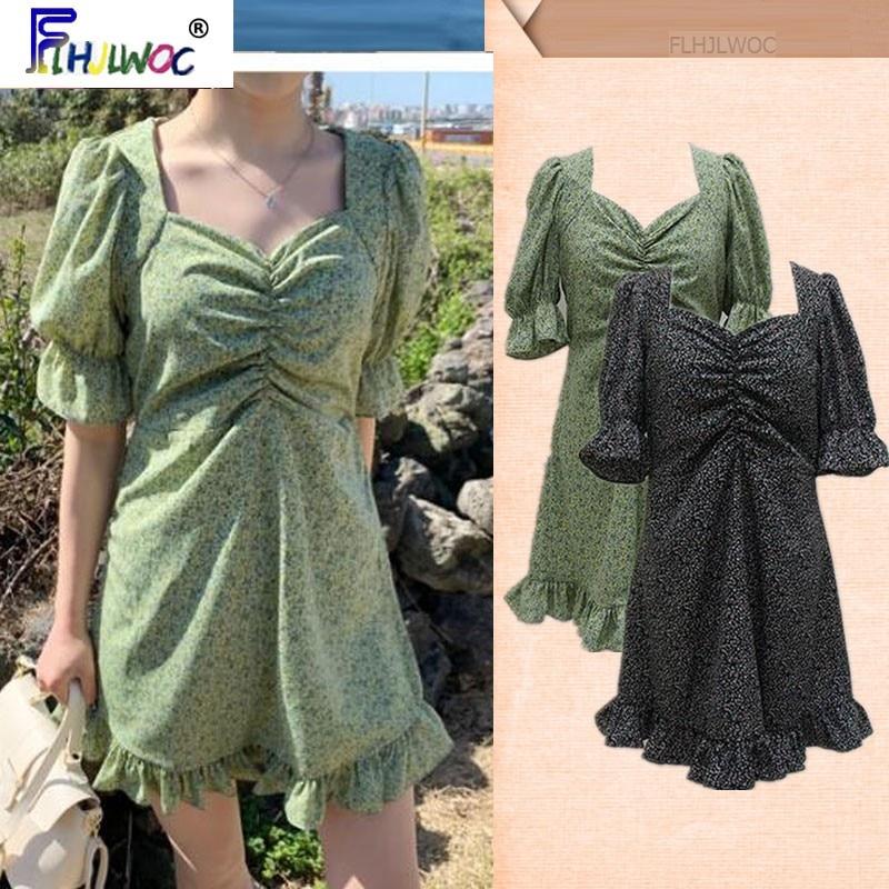 South Korea Chic Dresses Hot Sales Women Flhjlwoc Style Ruffled Fresh Green Floral Print Draped Dress Vintage Vestidos Femme