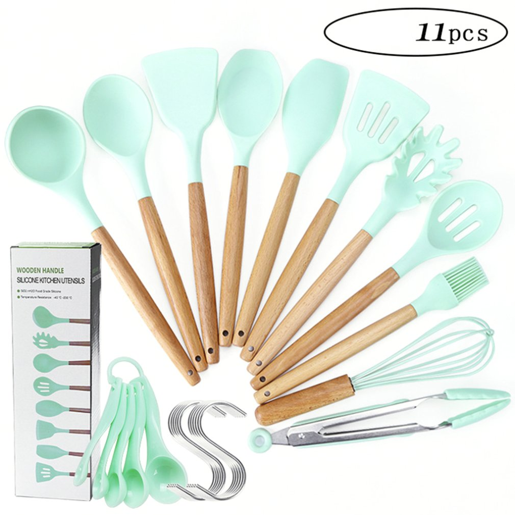 Fashion Non Stick Silicone Kitchen Portable Mini Kitchen Set  With Wood Handle Shovel Scraper Colander Food Clip Egg Beater|Cooking Tool Sets| |  - title=