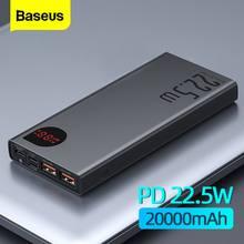 Baseus Batterie Externe 20000 mAh 22.5W Portable Powerbank de Charge Téléphone Portable Batterie Externe PD QC 3.0 chargeur Poverbank 20000 mAh