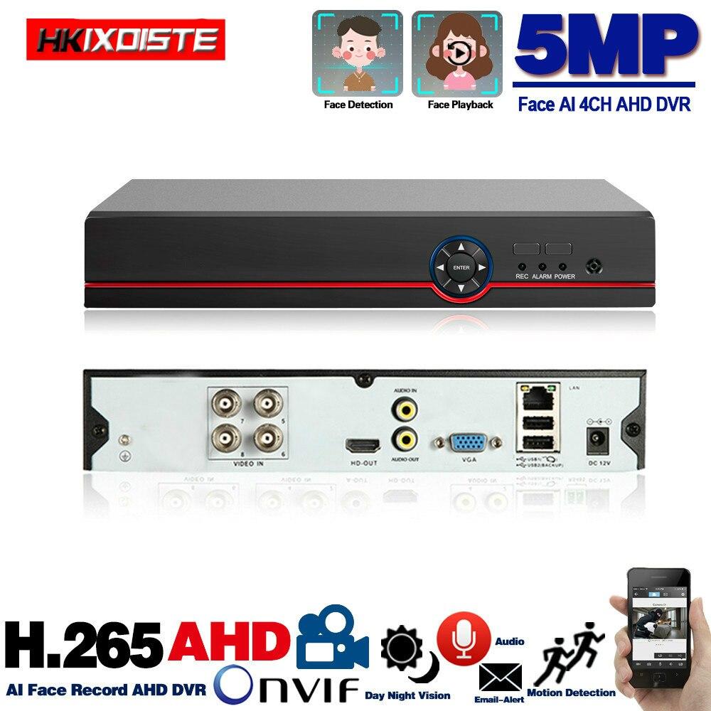 H.265 H.264 4 kanałowy AHD DVR 5MP CCTV 6 w 1 5MP hybrydowy bezpieczeństwa nagrywarka DVR Onvif P2P widok dla kamera telewizji przemysłowej 4ch