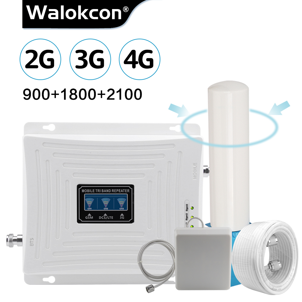 360 Degree Antennas 2g 3g 4g Tri Band Signal Booster 900 1800 2100 MHz GSM WCDMA UMTS LTE Cellular Repeater GSM 4G LTE Amplifier