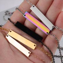 5pcs/lot Mirror Polish 316L Stainless Steel Blank Bar Pendant Necklace 18 Six Colors Female Choker Jewelry Gift 35*6mm