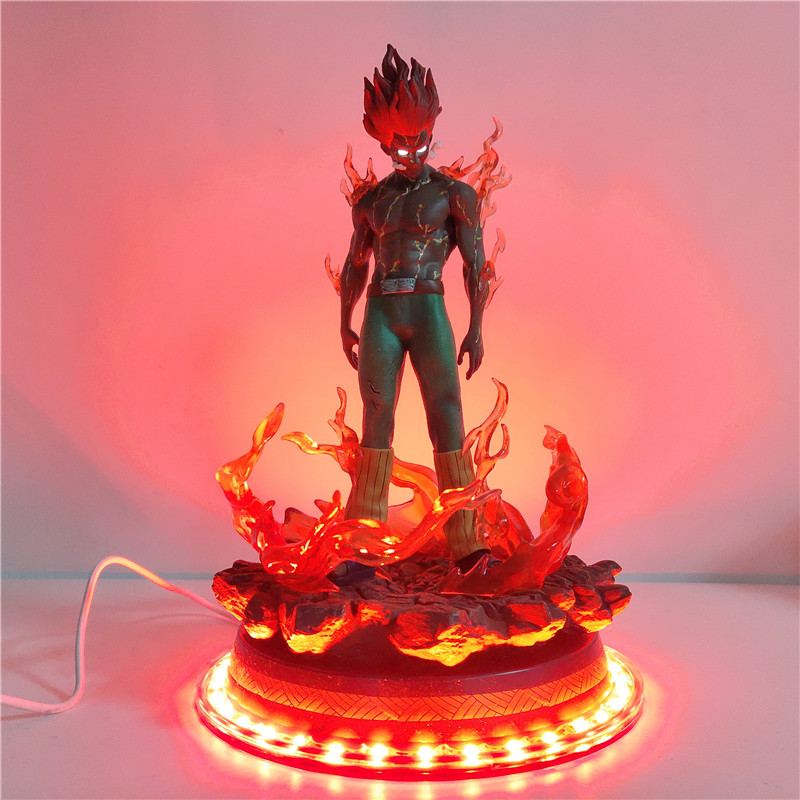 Naruto Figure Might Guy LED Decorative Night Light Could Guy Statue Base USB LED Desk Bedroom Lamp For Christmas Gifts Toy Dolls