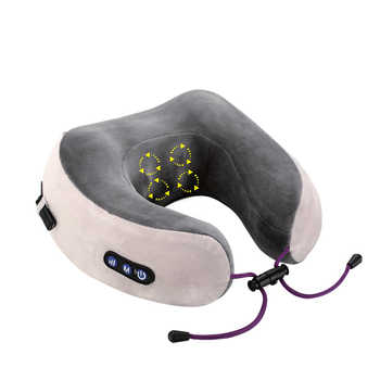 KIKI NEWGAIN Massage U-Shaped Pillow Multi-Function Shoulder and Cervical Vertebra Electric Outdoor Portable Car Health Care