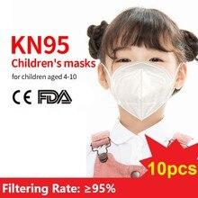 10pcs KN95 Children Mask Dustproof particle Mouth Face Mask N95 Disposable Child Mask 99% Filtration N95 FFP2 Masks For Kids