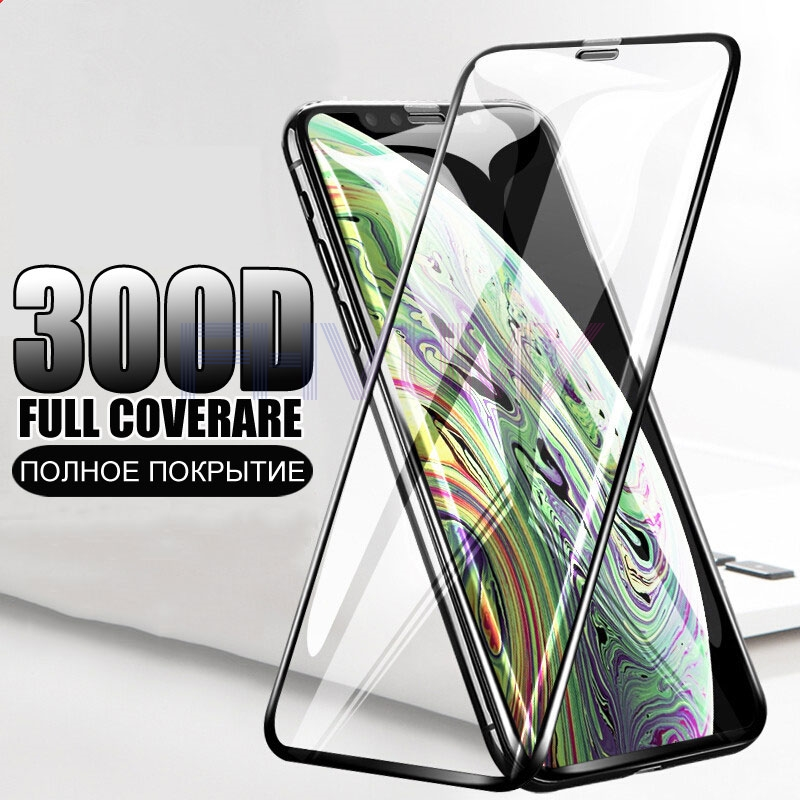 <font><b>300D</b></font> Curved Edge Protective Glass For iPhone 6S 6 7 8 Plus X XS SE 2020 Tempered Screen Protector XR 11 Pro Xs Max Glass Film image