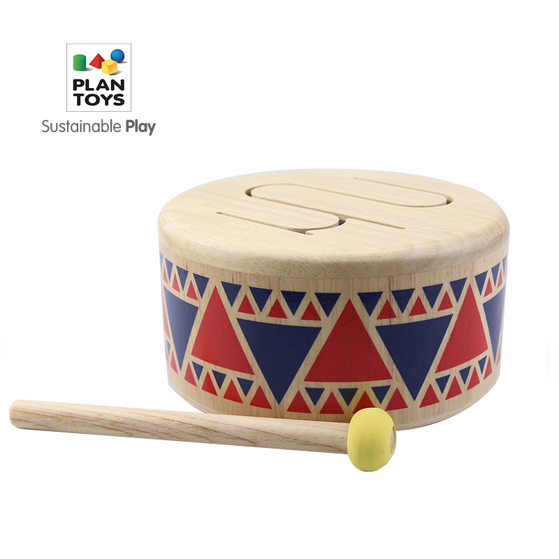 Wooden Toys PlanToys Wooden Drum Children's Enlightenment Music Percussion Wooden Early Education Musical Instrument Toy Gift