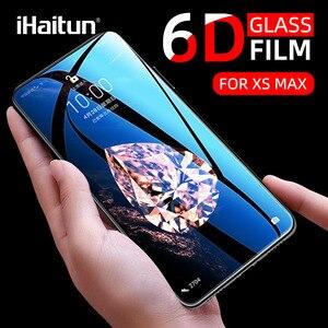 Image 1 - IHaitun verre de luxe 6D pour iPhone 11 Pro Max X XS MAX XR protecteur décran en verre trempé incurvé pour iPhone XS 10 7 8 Plus Film de couverture complète SE SE2 2020