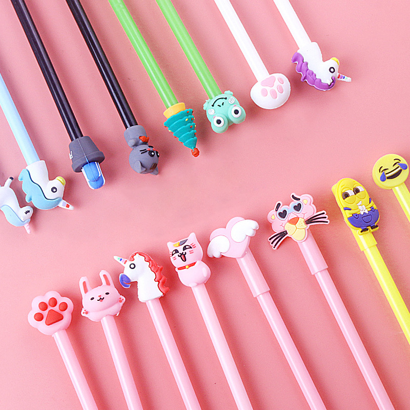 20 Pcs/set 3 Colour Ins Animal Toy Gel Pen Neuter Pen Bag Packaging Kawaii Students Stationery Gift Supplies Stationery