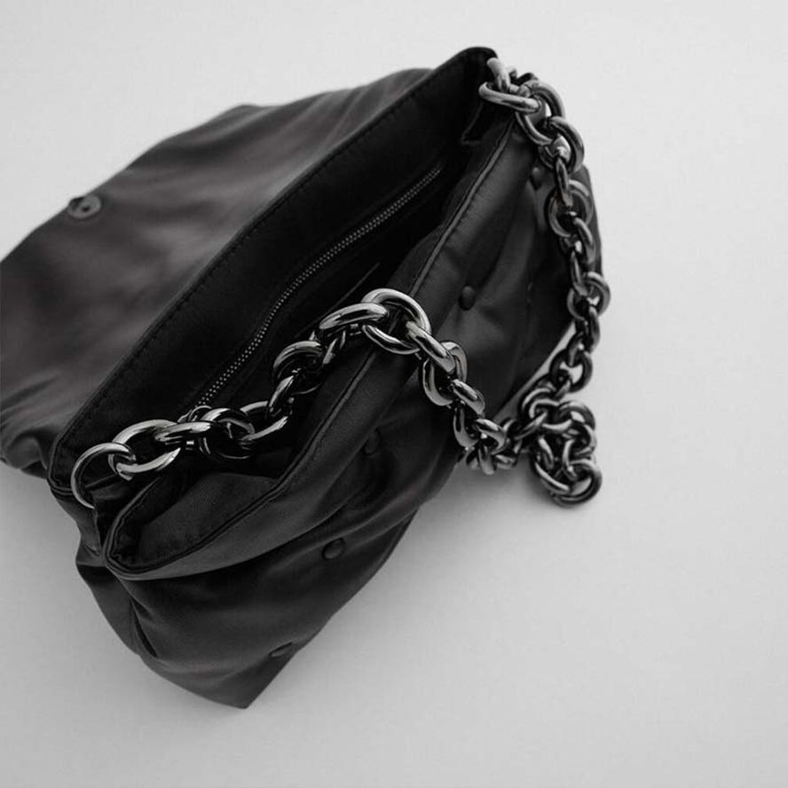 Купить стеганая женская сумка с металлической цепочкой и замком однотонные