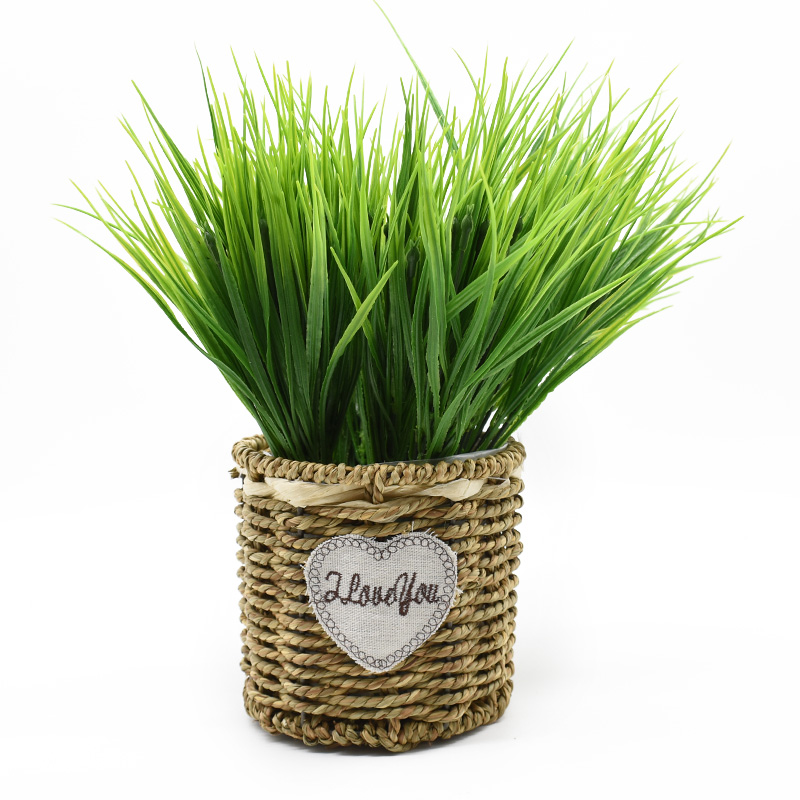 1 Piece 7 Forks Green Grass Artificial Plants Plastic Flowers Household Wedding Spring Summer Living Room Vases For Home Decor