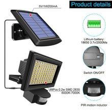 99 LED Solar Power PIR Motion Sensor Flood Wall Light Waterproof Outdoor Indoor Garden Security Solar Lamp With 5m Line