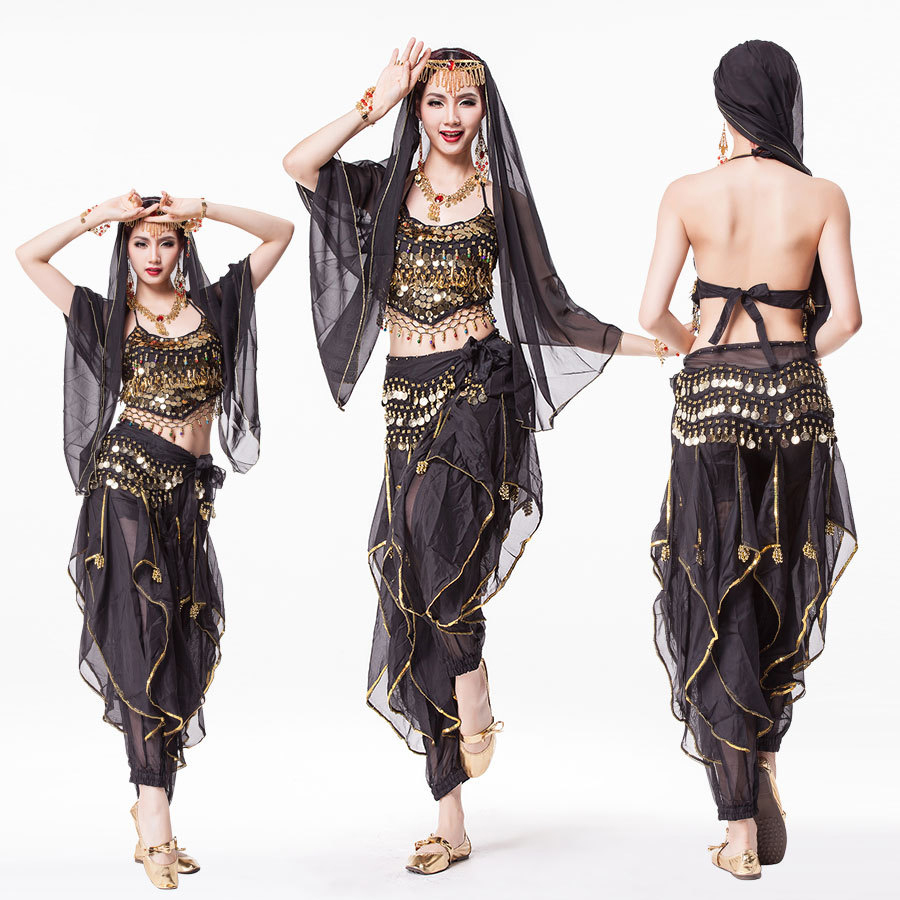 Bollywood Dress Costume Women Set <font><b>Indian</b></font> Dance <font><b>Sari</b></font> Belly Dance Outfit Performance Clothes Chiffon Top+Belt+<font><b>Skirt</b></font> image