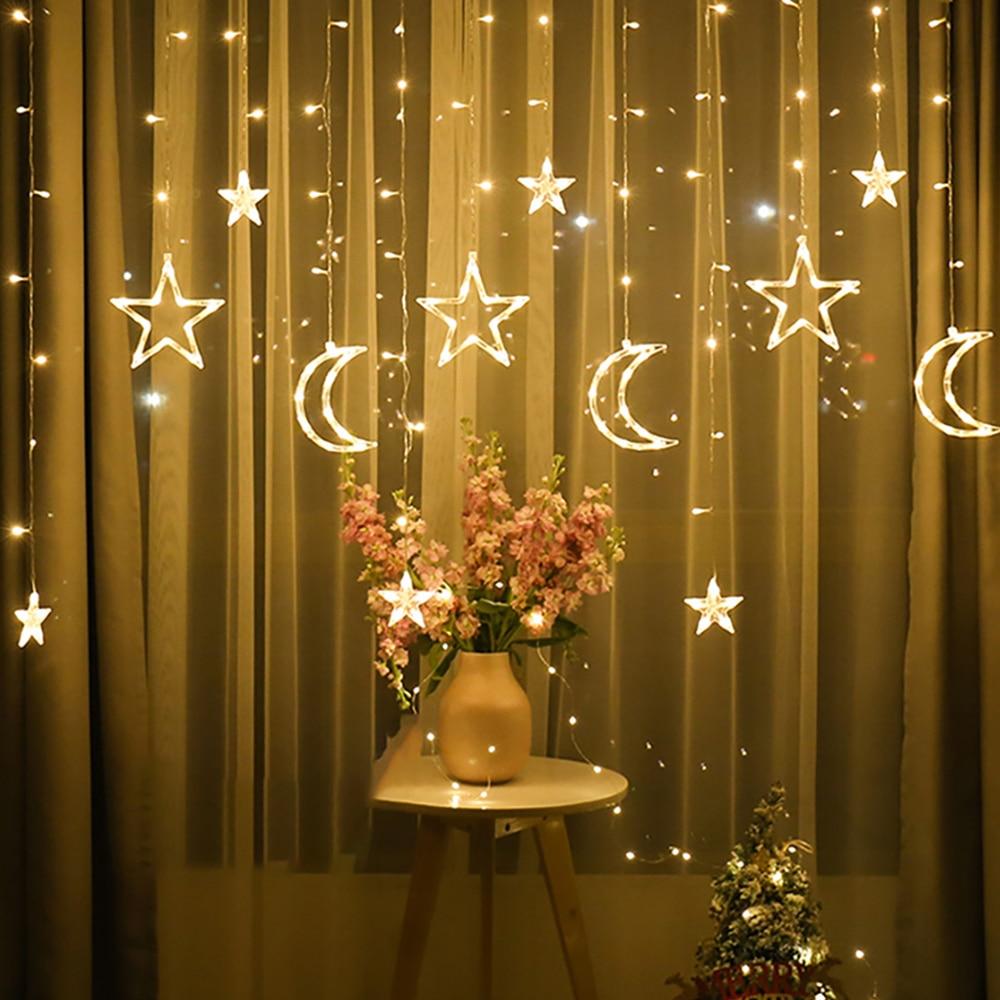 Curtain Light Moon Star Lamp LED Lamp String Garden Romantic Moon Star Lamp String Christmas Decoration for Garden Fairy Lights
