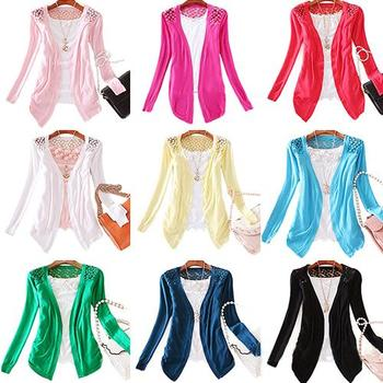 HOT SALE!!! Women's Lace Sweet Candy Color Crochet Knit Blouse Top Coat Sweater Cardigan lace sexy cardigan sweater women winter image