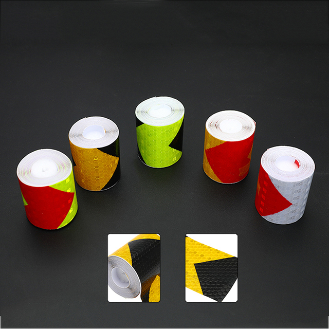5cm*3m Self Adhesive Warning Tape Arrow Safety Mark Reflective Tape Stickers Car-styling Automobiles Motorcycle Reflective Film 1