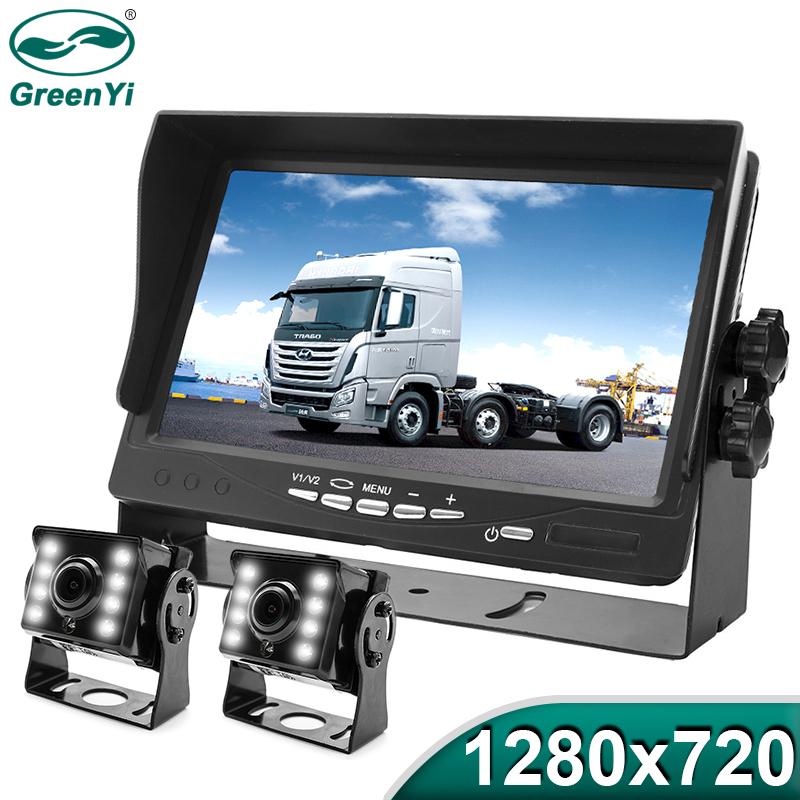 GreenYi High Definition AHD 1280*720 Truck Backup Starlight Night Vision Camera 7 inch Car Reverse Monitor For Bus Vehicle(China)