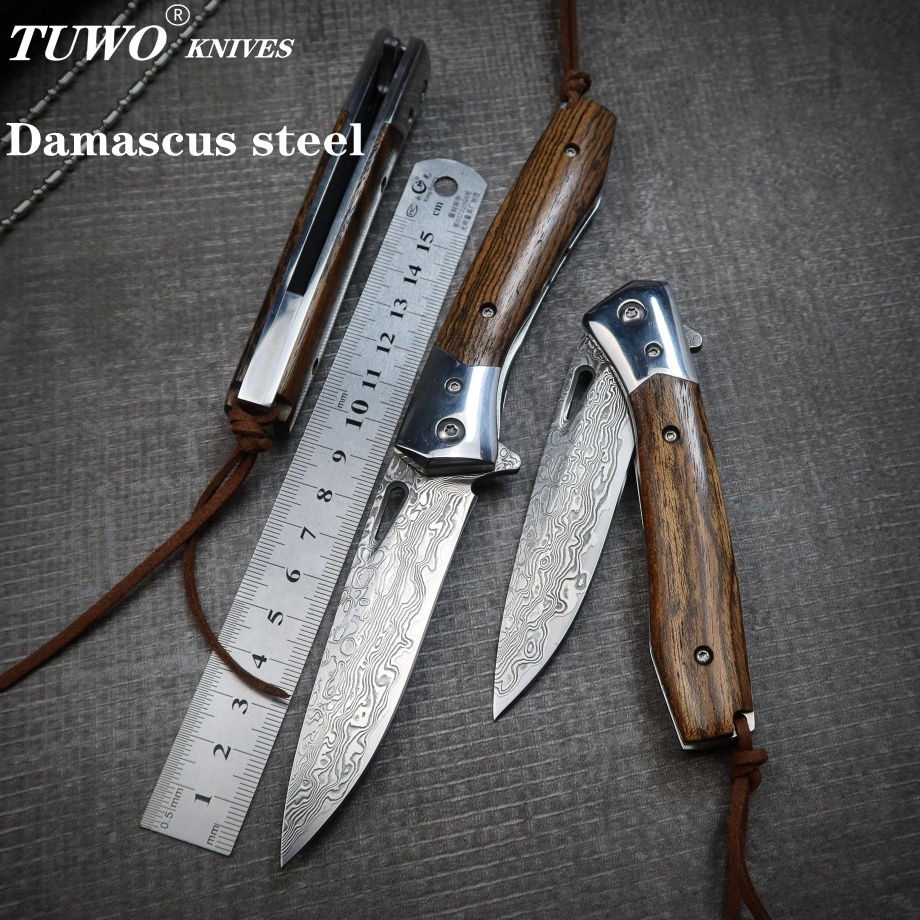 Складной нож TUWO из дамасской стали, складной нож для походов на открытом воздухе, ручной тактический нож с хорошим открытием и закрытием|Ножи|   | АлиЭкспресс