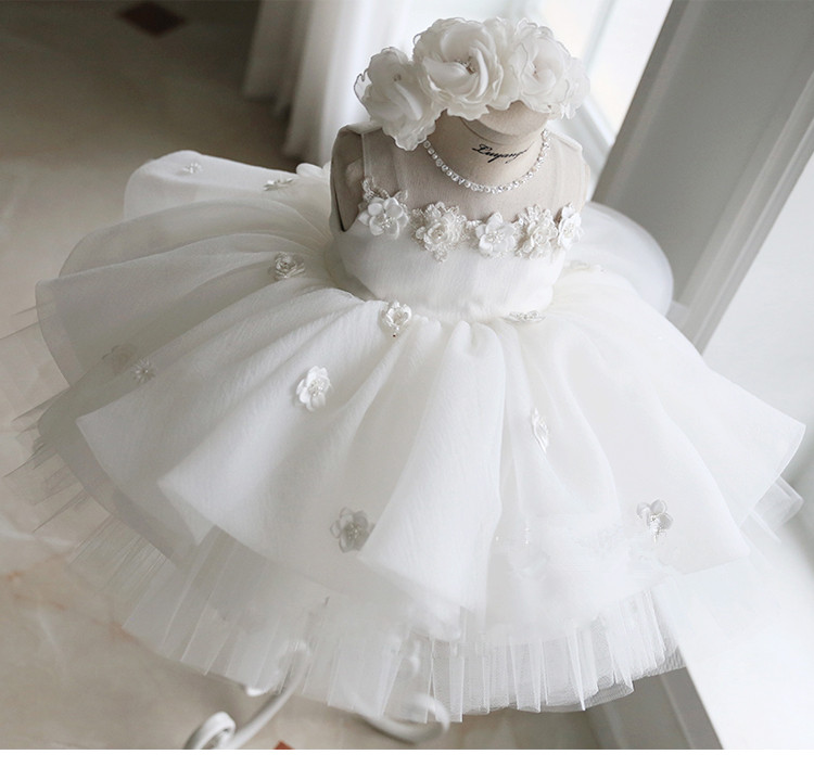 White Lace Flower Baby Girl Dress Baptism Ball Gown Appliques Pageant Dress for Girl Birthday Wedding Party Christening Gown