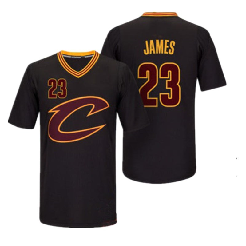 Wholesale Cleveland Cavaliers 23 James LeBron James Black, Short Sleeve Championship Embroidered Shirt Foreign Trade