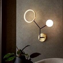 Nordic светодиодный настенный светильник для Спальня прикроватный коридор Гостиная светильник Медь ветки дерева, вилла, квартира, лестницы на...