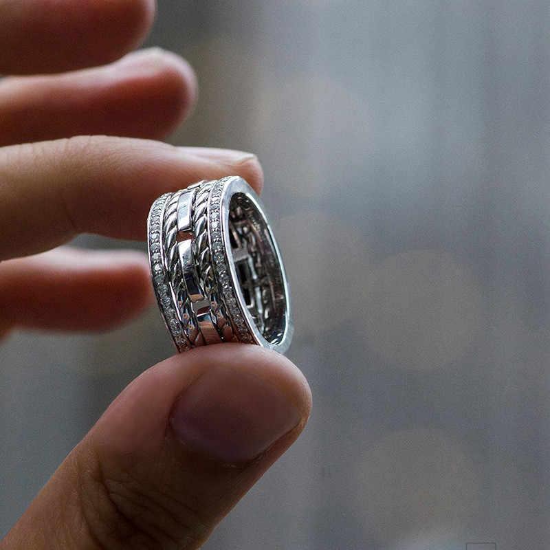 Fashion Double Lapisan AAA Crystal Zircon Batu Cincin Mewah Wanita Pernikahan Warna Perak Perhiasan Janji Pertunangan Cincin untuk Wanita