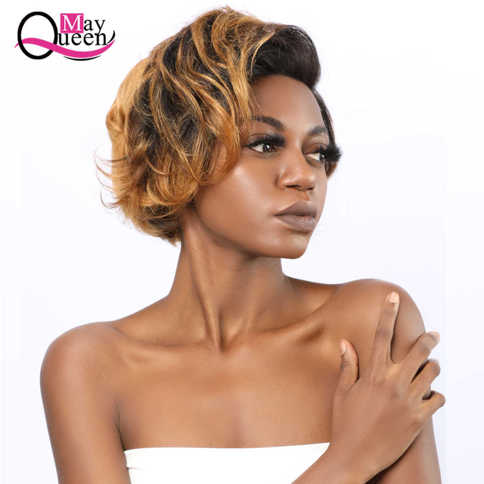 Ombre 1b/30 Short Pixie Cut Wig Glueless Lace Front Human Hair Wig for Black Women Pre Plucked with Baby Hair 13x4 Remy Lace Wig