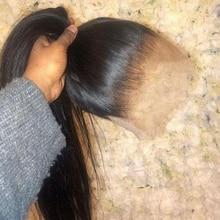 Safira completa frente do laço perucas de cabelo humano remy brasileiro em linha reta perucas de cabelo humano 360 peruca frontal do laço pré arrancado com o cabelo do bebê