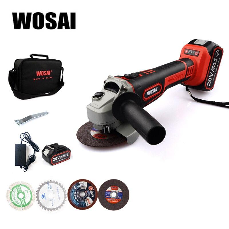 WOSAI аккумуляторная угловая шлифовальная машина 20V литий-ионный шлифовальный станок для резки электрическая угловая шлифовальная машина