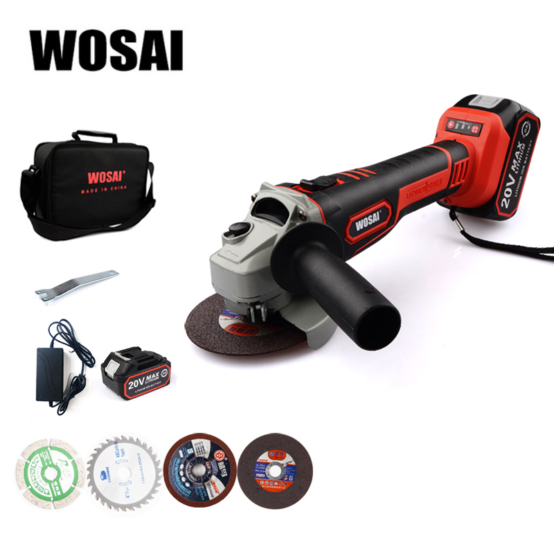 Aletler'ten Parlatıcılar'de WOSAI akülü açı öğütücü 20V lityum iyon taşlama makinesi kesme elektrikli açı öğütücü öğütme güç aracı title=