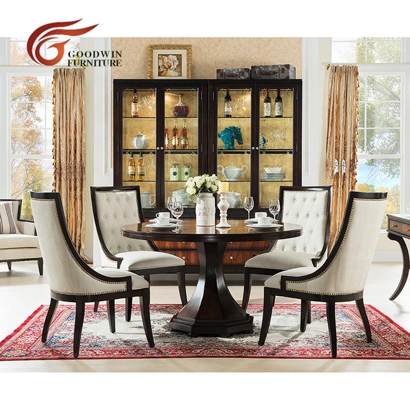 french style luxury wooden round dining table modern set ensemble moderne de table a manger ronde en bois de luxe de style wa424