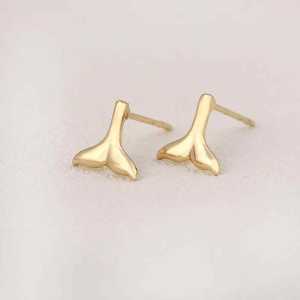 Jisensp Halus Whale Ekor Anting-Anting Fashion Perhiasan untuk Wanita Trendi Indah Putri Duyung Ekor Stud Earrings Pernikahan Perhiasan Hadiah