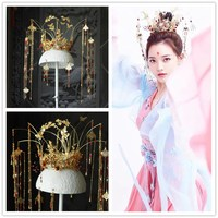 golden Chinese Phoenix Coronet Hair Ornament with long tassel Chinese Wedding Bride Costume Hair Accessory queen cosplay