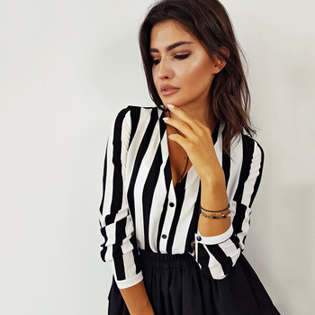 Fashion Hot Sale Summer Elegant V Neck Button Blouse OL Casual Loose Tops Sexy Women Striped Vintage Shirt 4