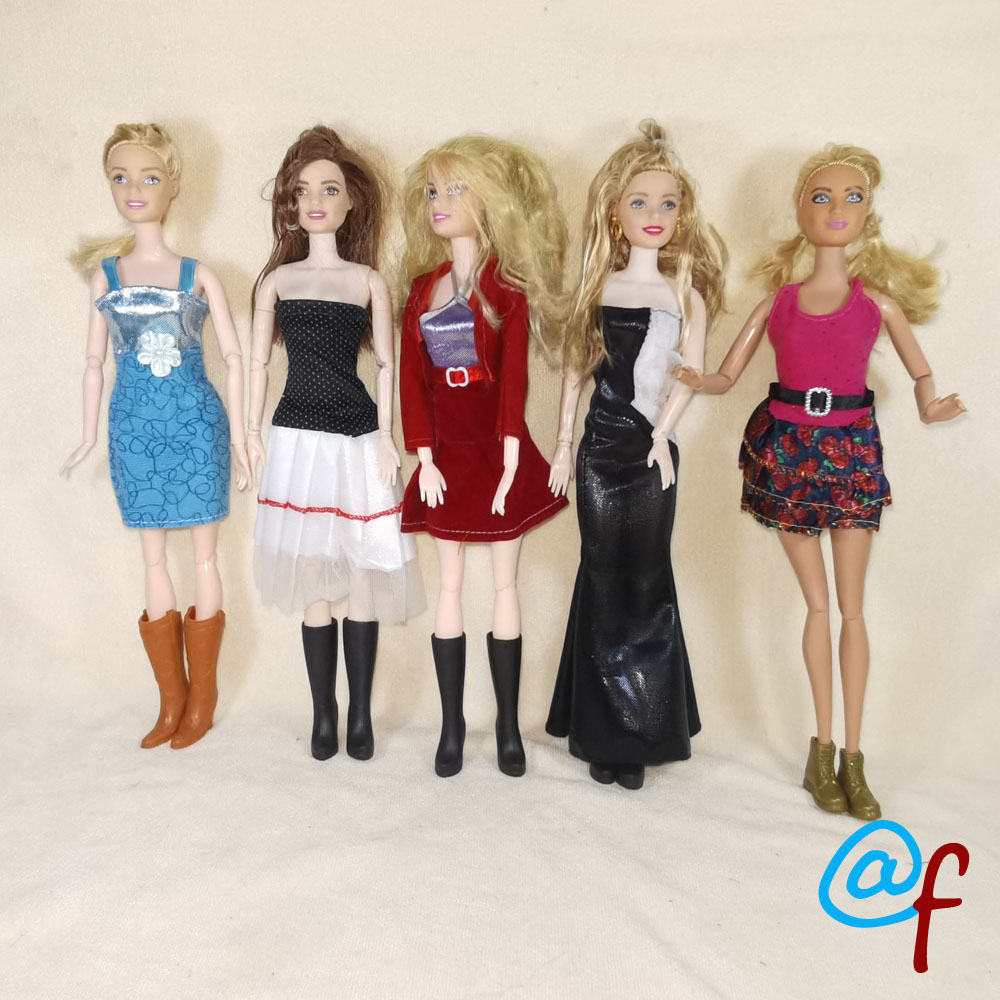 N38F 1-set Doll Skirt Night Party Clothes Girl DIY For 1/6 OOAK Beauty Doll's Dress A Brand Head As Gift If 3sets Or More