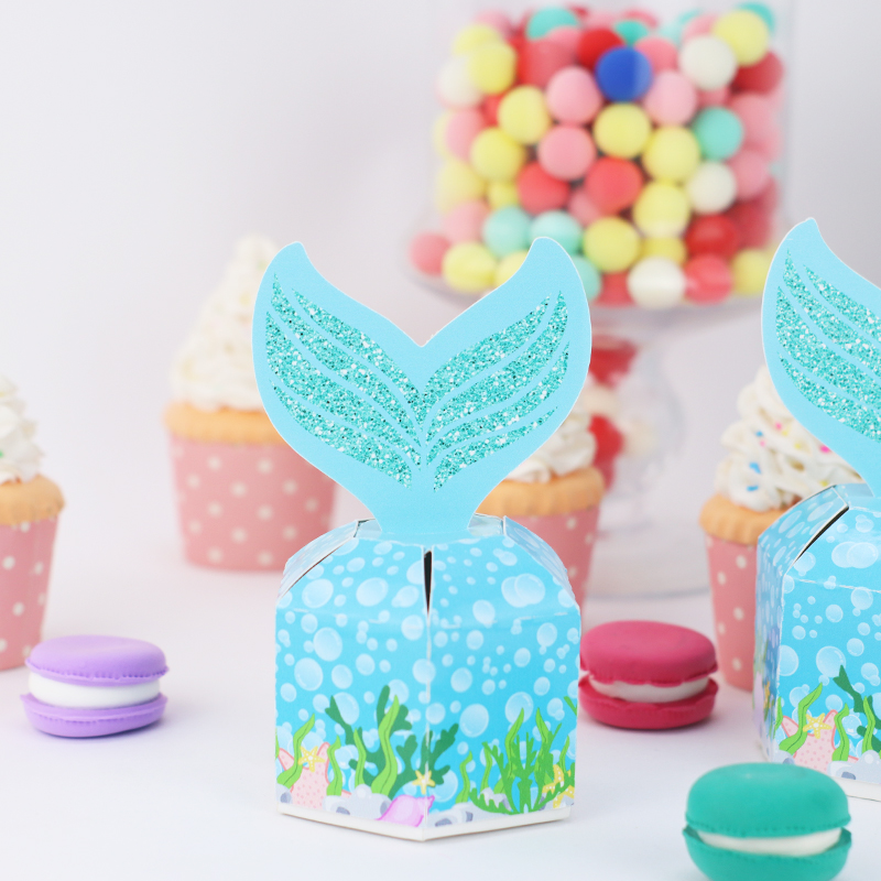 New Pretty Mermaids Favor Box Candy Box Gift Box Cupcake Box Boy Kids Birthday Party Supplies Decoration Event Party Supplies