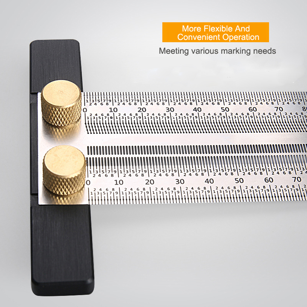 180mm/200mm/300mm/400mm Scale Ruler T-type Hole Ruler  Woodworking Scribing Mark Line Gauge Carpenter Measuring Tool New D11