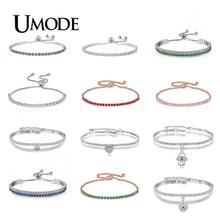 UMODE 2019 Crystal Zircon Tennis Bracelets for Women Rose / White Gold Bracelet Box Chain Jewelry Pulseras Mujer AUB0124