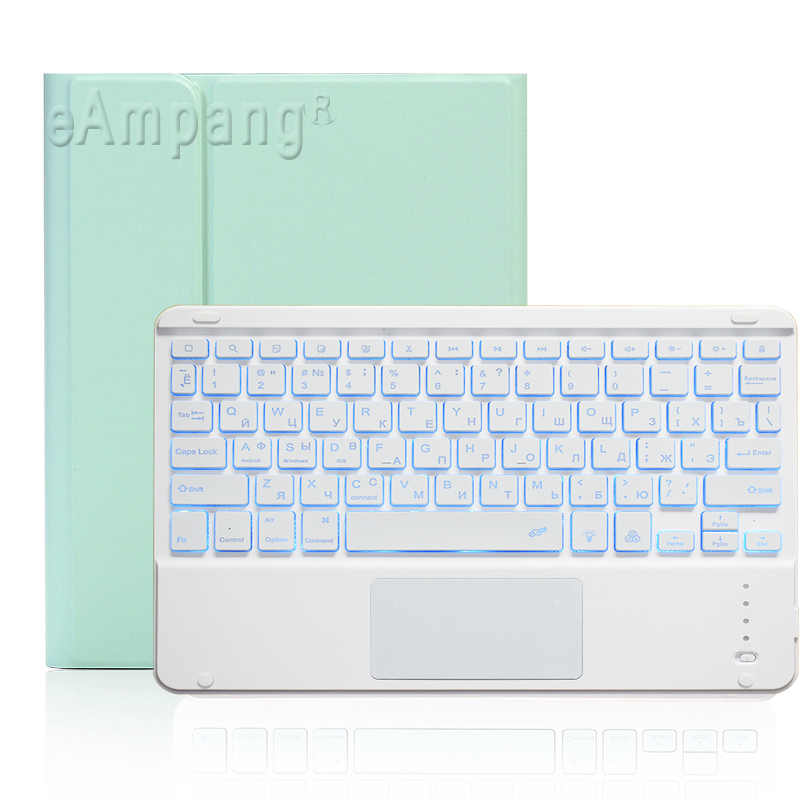 Russian Keyboard Ivory For iPad 7th 8th Generation 10 2 2019 A2200 A2198 A2232 Case with Backlit Touchpad Keyboard