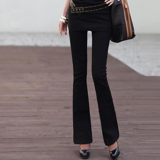 Spring-Summer New Micro Flare Jeans Bottom Wear Women color: Black|White